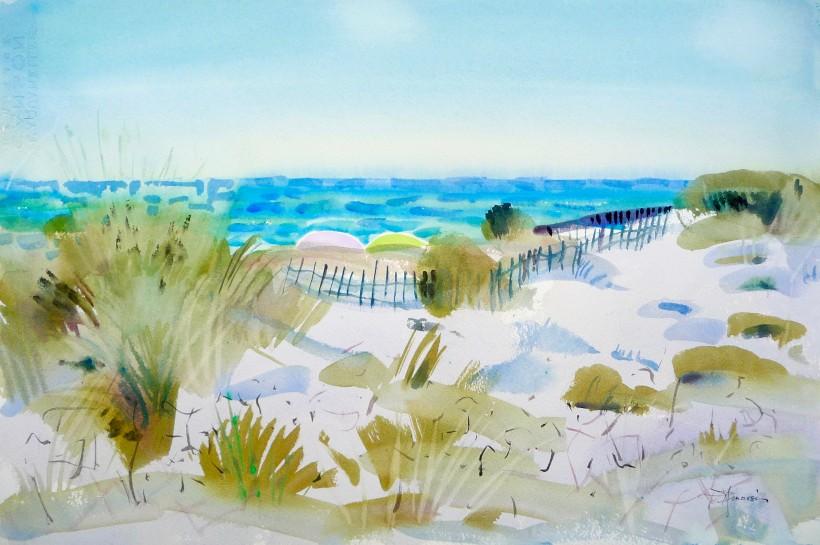 aquarelle à la plage